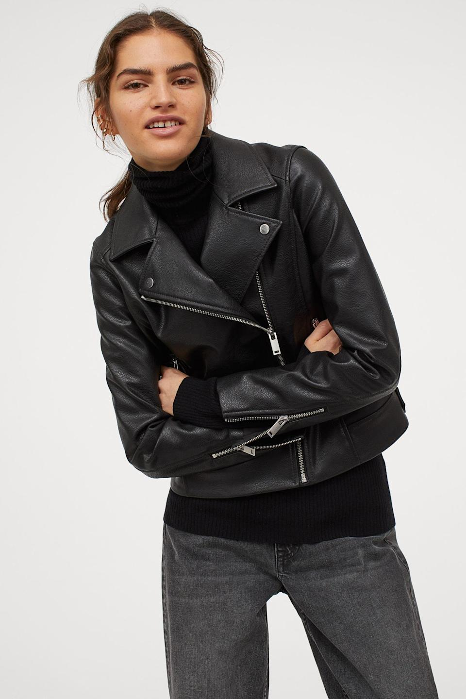 <p>Consider this <span>H&amp;M Biker Jacket</span> ($50) a springtime staple.</p>