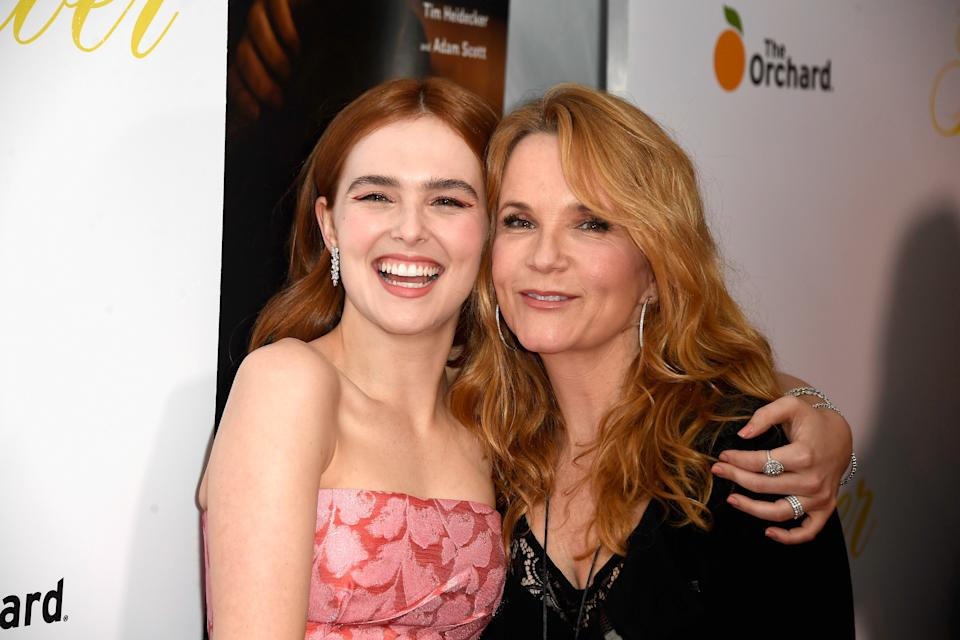 """Zoey Deutch and Lea Thompson attend the premiere of The Orchard's """"Flower"""" on March 13, 2018. (Photo by Frazer Harrison/Getty Images)"""