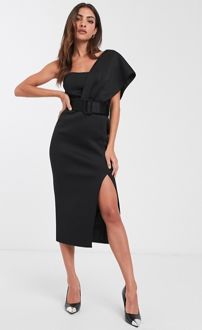 ASOS one shoulder belted scuba midi dress - $96.00