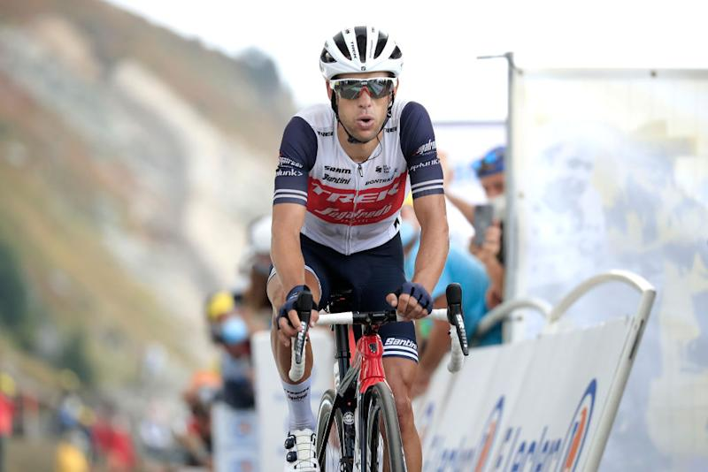 Richie Porte (Trek-Segafredo) finishes stage 17 of the 2020 Tour de France at the Col de la Loze, moving up two places overall to fourth with four days of the race remaining
