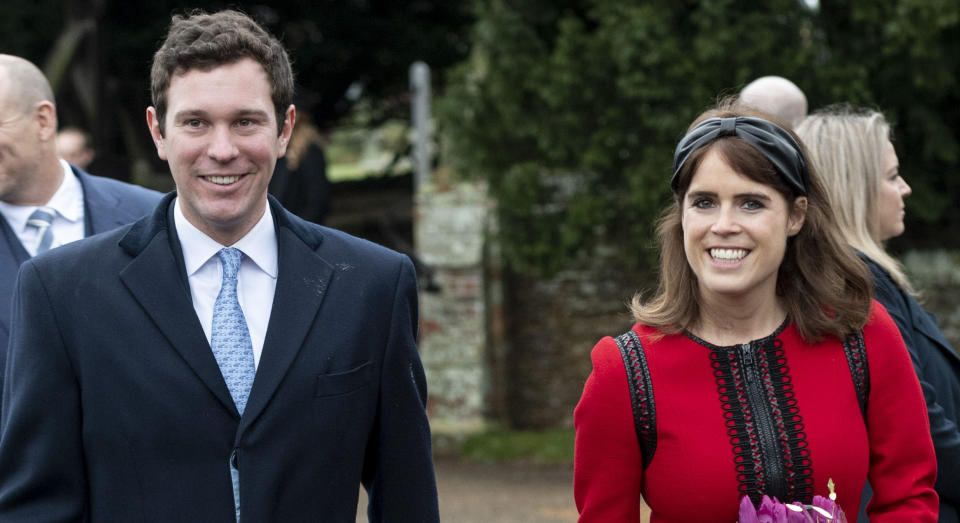 KING'S LYNN, ENGLAND - DECEMBER 25: Princess Eugenie and Jack Brooksbank attend Christmas Day Church service at Church of St Mary Magdalene on the Sandringham estate on December 25, 2018 in King's Lynn, England. (Photo by UK Press Pool/UK Press via Getty Images)
