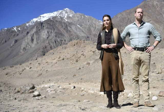 William and Kate visiting the Chiatibo glacier in the Hindu Kush mountain range to learn about the effects of climate change. Neil Hall/PA Wire