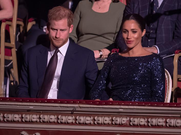 Britain's Prince Harry and Meghan, Duchess of Sussex attend the premiere of Cirque du Soleil's 'Totem' at the Royal Albert Hall in London, Britain, January 16, 2019. Paul Grover/Pool via REUTERS