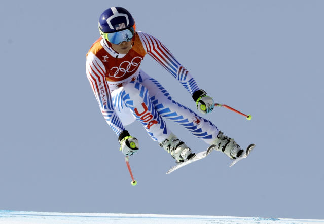 Lindsey Vonn competes in the women's combined downhill at the 2018 Winter Olympics in Jeongseon, South Korea, Thursday, Feb. 22, 2018. (AP)