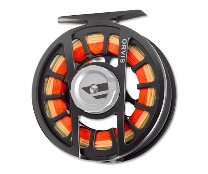 """<p><strong>Orvis</strong></p><p>orvis.com</p><p><strong>$198.00</strong></p><p><a href=""""https://go.redirectingat.com?id=74968X1596630&url=https%3A%2F%2Fwww.orvis.com%2Fp%2Forvis-hydros-reels%2F2zas&sref=https%3A%2F%2Fwww.popularmechanics.com%2Fadventure%2Foutdoor-gear%2Fg36123677%2Ffly-fishing-gear%2F"""" rel=""""nofollow noopener"""" target=""""_blank"""" data-ylk=""""slk:Buy Now"""" class=""""link rapid-noclick-resp"""">Buy Now</a></p><p>I have three Hydros reels, in various sizes, and I'm surprised I don't own more. The large-arbor design is big, chunky, and perfect—and also not terribly heavy, at 7.7 ounces or less. I hate babying gear, and the reasonably priced Hydros doesn't need to be, with fully sealed bearings and a sturdy aluminum-alloy body. Orvis has tweaked the Hydros a good bit over the years. The current iteration retrieves an impressive <a href=""""https://www.tridentflyfishing.com/blog/orvis-hydros-sl-fly-reel-review/"""" rel=""""nofollow noopener"""" target=""""_blank"""" data-ylk=""""slk:ten inches per turn"""" class=""""link rapid-noclick-resp"""">ten inches per turn</a>. But the main appeal is the smooth drag, which can be cranked up to 14 pounds of resistance, in the event you hook a giant.</p>"""