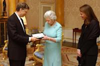 <p>Queen Elizabeth presented Bill Gates with an honorary knighthood in recognition of his charitable donations in Commonwealth countries in 2005.</p>