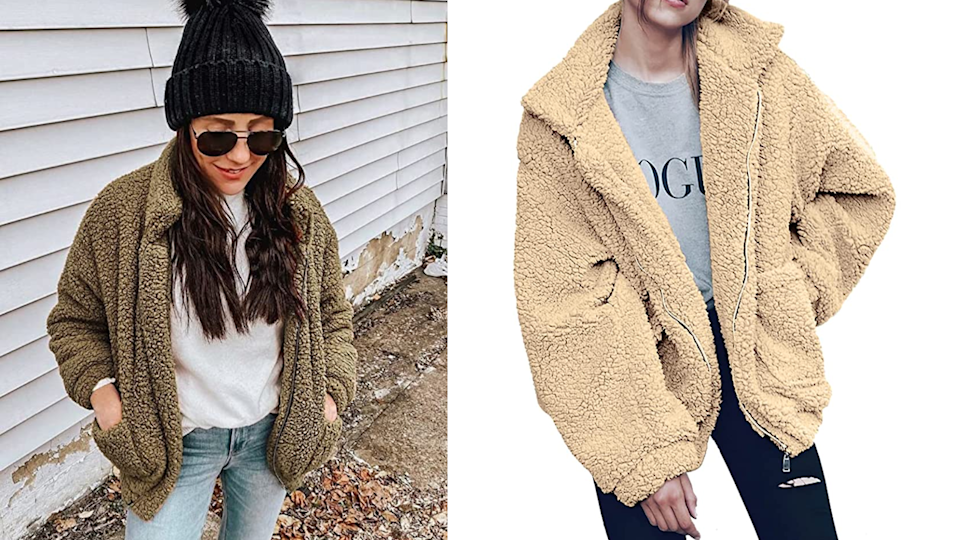 A teddy coat is the equivalent of wearing a blanket outside.