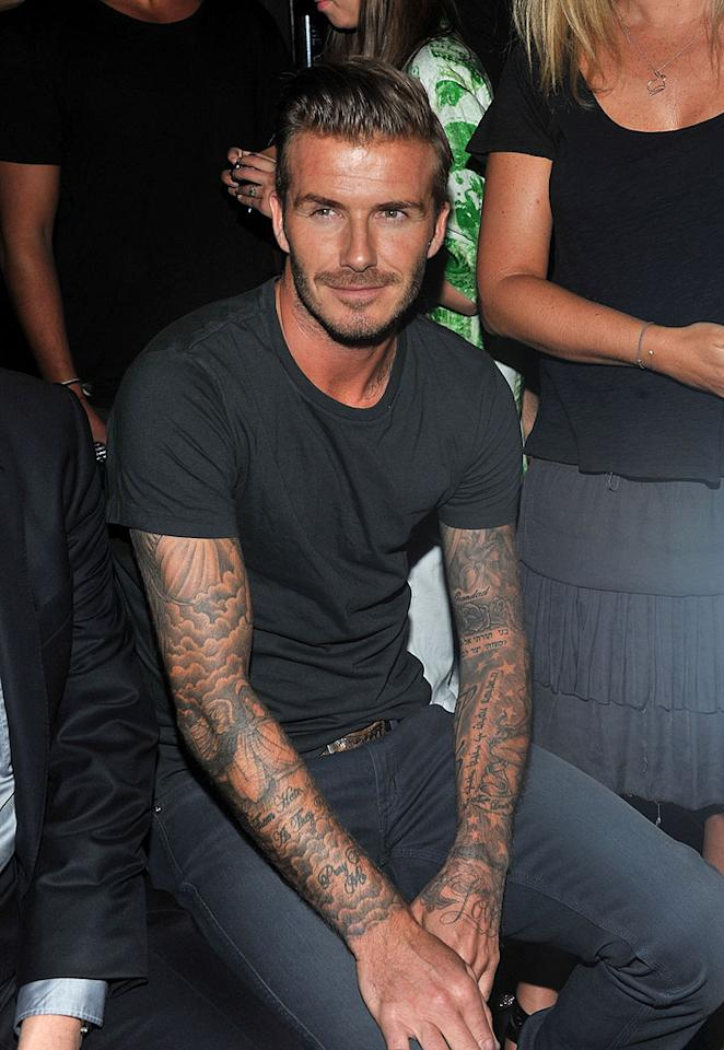 It must have been hard for fashionistas to keep their eyes on the clothes at the Y-3 10th Anniversary Collection show since David Beckham was perched near the runway. The sexy soccer star attended the event solo and managed to look hot in casual jeans and a T-shirt. (9/9/12)