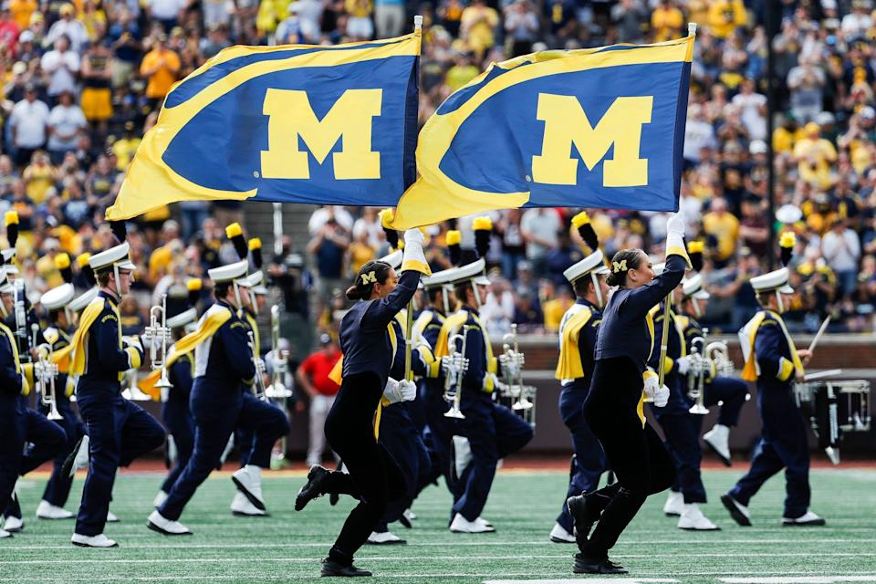 Michigan marching band take the field before the Northern Illinois game Michigan Stadium in Ann Arbor on Saturday, Sept. 18, 2021.