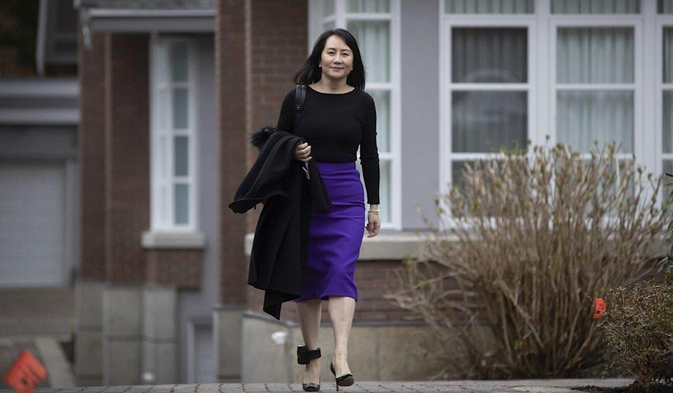 Meng Wanzhou leaving her Vancouver home to attend a court hearing on Tuesday. Photo: AP