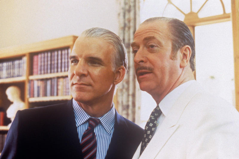 Actors Michael Caine, on the right, and Steve Martin on the left in a scene from the movie Dirty Rotten Scoundrels; they play two con-men, the elegant and sophisticated Lawrence Jamieson and the younger, reckless Freddy Benson, that contend for a hunting territory. Antibes (France), 1988. (Photo by Mondadori via Getty Images)