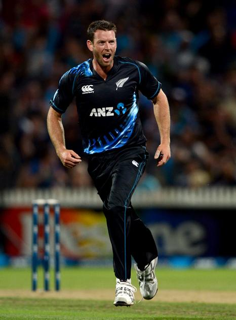 HAMILTON, NEW ZEALAND - FEBRUARY 12:  Ian Butlerof New Zealand celebrates dismissing Jonathan Bairstow of England during the international Twenty20 match between New Zealand and England at Seddon Park on February 12, 2013 in Hamilton, New Zealand.  (Photo by Gareth Copley/Getty Images)