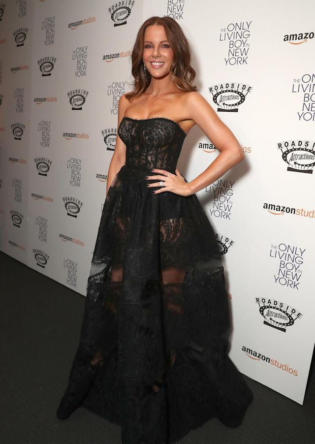 The actress walked the red carpet in this beautiful black gown. (Photo: Getty Images)