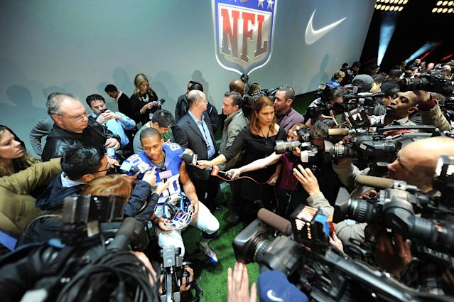 NEW YORK, NY - APRIL 03: New York Giants, Victor Cruz interviewed as Nike debuts the new NFL uniforms on April 3, 2012 in New York City. (Photo by Jason Kempin/Getty Images for Nike)