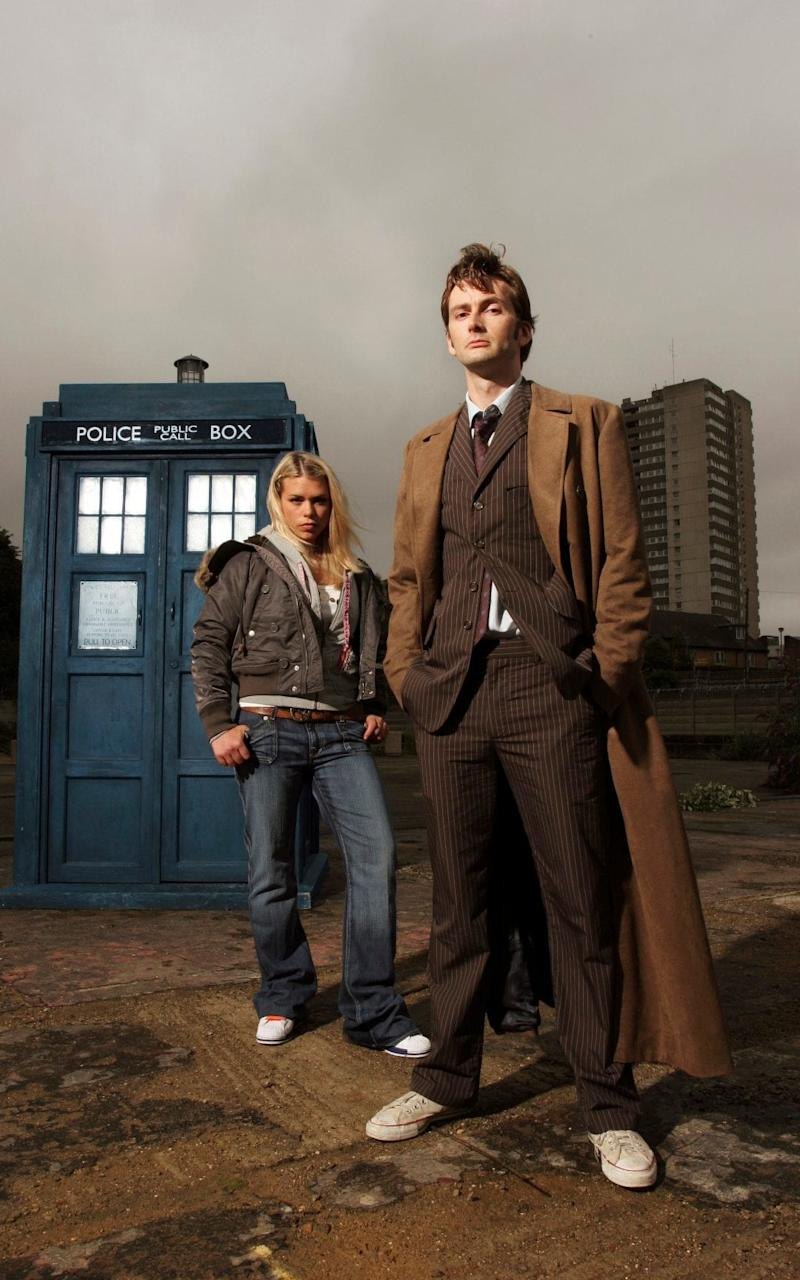 Billie Piper, left, as Rose Tyler with David Tennant as The Tenth Doctor - Credit: BBC