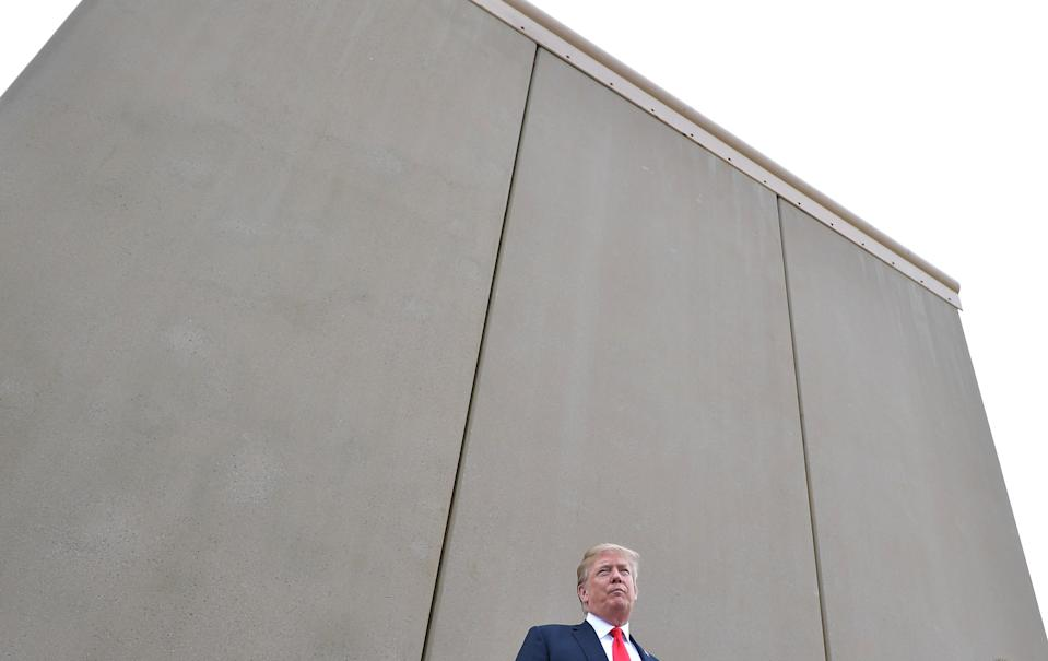 US President Donald Trump speaks during an inspection of border wall prototypes in San Diego, California on March 13, 2018. (Photo credit: MANDEL NGAN/AFP/Getty Images)