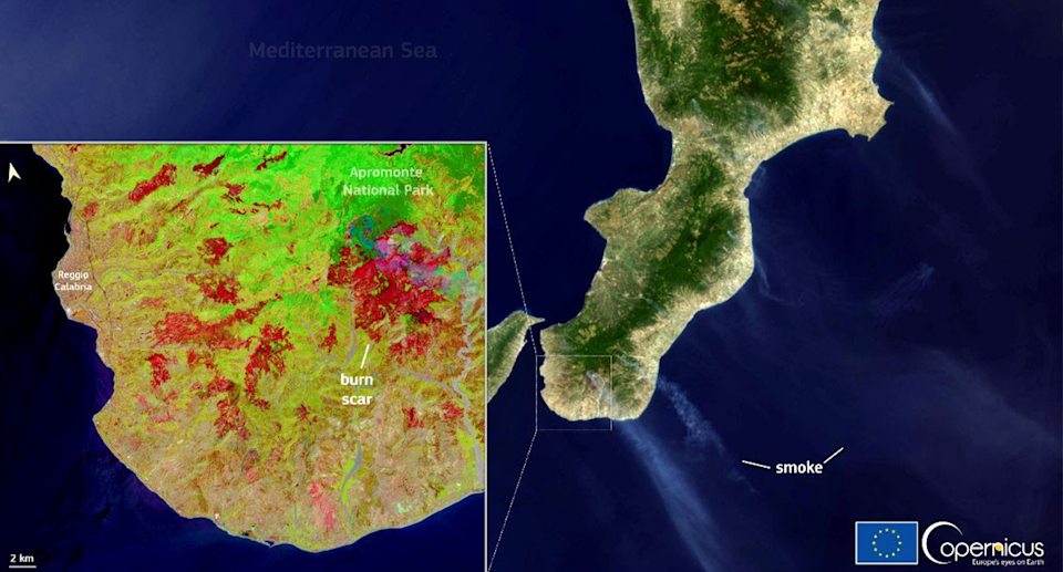 Satellite imagery shows a burn scar caused by wildfires in the Calabria Region of Italy. Source: European Union, Copernicus Sentinel-2 and Sentinel-3 imagery