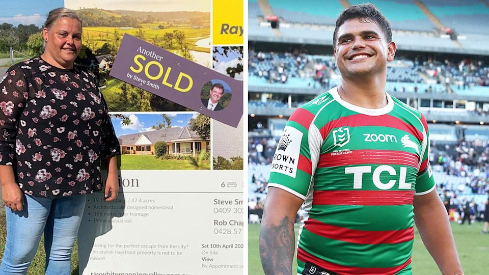 Latrell Mitchell (pictured right) smiling after a NRL game and his mother (pictured left) smiling in front of a sold sign.