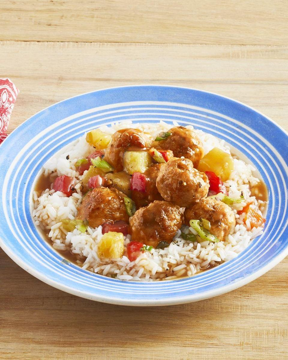 """<p>These tangy pork meatballs are especially delicious with a hint of spice. Don't be afraid to sprinkle on the red pepper flakes!</p><p><strong><a href=""""https://www.thepioneerwoman.com/food-cooking/recipes/a32451702/sweet-and-sour-pork-meatballs-with-pineapple-recipe/"""" rel=""""nofollow noopener"""" target=""""_blank"""" data-ylk=""""slk:Get Ree's recipe."""" class=""""link rapid-noclick-resp"""">Get Ree's recipe.</a></strong></p>"""