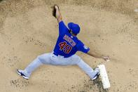 Chicago Cubs starting pitcher Jake Arrieta throws during the first inning of a baseball game against the Milwaukee Brewers Wednesday, April 14, 2021, in Milwaukee. (AP Photo/Morry Gash)