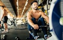 """<p><strong>Directions:</strong> Warm up for five minutes. Then do the following exercises in the order shown.</p><ol><li>Row, 100 meters</li><li><a href=""""http://www.menshealth.com/exercise/body-weight-squat"""" rel=""""nofollow noopener"""" target=""""_blank"""" data-ylk=""""slk:Bodyweight squat"""" class=""""link rapid-noclick-resp"""">Bodyweight squat</a>, 10 reps</li><li>Row, 200 meters</li><li>Bodyweight squat, 10 reps</li><li>Alternating reverse lunge, 20 reps</li><li>Kneeling biceps curl to overhead press, 10 reps</li></ol><p>That's 1 round. Do 3 total rounds, resting when needed.</p>"""