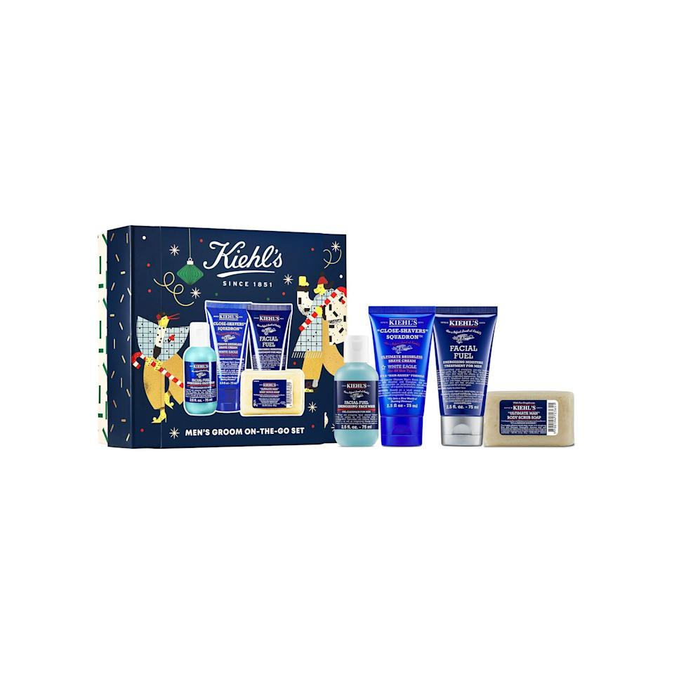 "<p><strong>Kiehl's</strong></p><p>kiehls.com</p><p><strong>$40.00</strong></p><p><a href=""https://go.redirectingat.com?id=74968X1596630&url=https%3A%2F%2Fwww.kiehls.com%2Fgifts-for-all%2Fmens-groom-on-the-go-set%2FKHL978.html%3Fdwvar_KHL978_size%3DSet&sref=https%3A%2F%2Fwww.esquire.com%2Fstyle%2Fgrooming%2Fg34444469%2F8-next-level-grooming-gifts-for-the-guy-who-thinks-he-has-it-all%2F"" rel=""nofollow noopener"" target=""_blank"" data-ylk=""slk:SHOP NOW"" class=""link rapid-noclick-resp"">SHOP NOW</a></p><p>Grooming products are great gifts. Ones that fit snug in a travel dopp kit are even better. Inside this set is the brand's best-selling men's products, including its Ultimate Brushless Shave Cream (which contains menthol to add <em>zing</em> to his shave), Body Scrub Soap (which helps slough off dead skin), Facial Fuel Energizing Face Wash (which cleanses and leaves skin feeling silky soft), and Facial Fuel Moisture Treatment (which keeps skin feeling touchably soft all day.) It's a thorough and invigorating grooming session in one box.</p>"