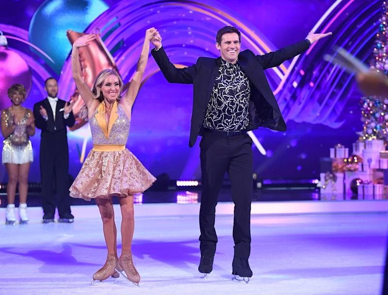 BOVINGDON, ENGLAND - DECEMBER 09: Kevin Kilbane and Brianne Delcourt during the Dancing On Ice 2019 photocall at the Dancing On Ice Studio, ITV Studios, Old Bovingdon Airfield on December 09, 2019 in Bovingdon, England. (Photo by Karwai Tang/WireImage)
