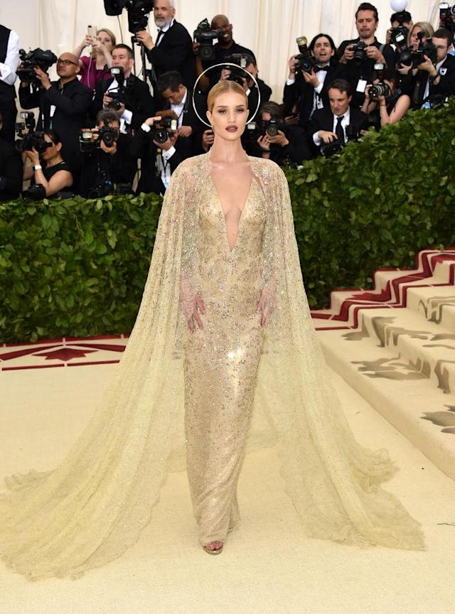 <p>Rosie Huntington-Whiteley in Ralph Lauren. (Photo: Getty Images) </p>