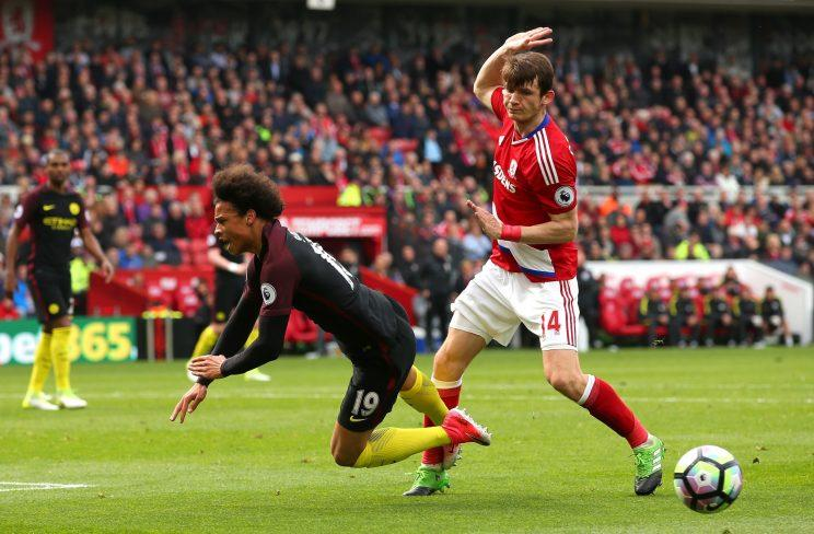 Manchester City winger Leroy Sane won a penalty against Middlesbrough