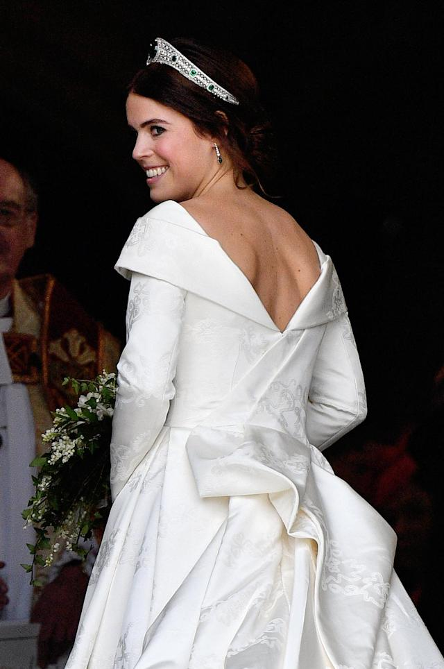 Princess Eugenie chose a dress which showed her scoliosis scar (Getty)