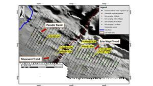 Imbo East Soil and Channel Sampling (on Aeromagnetic grey scale Background)