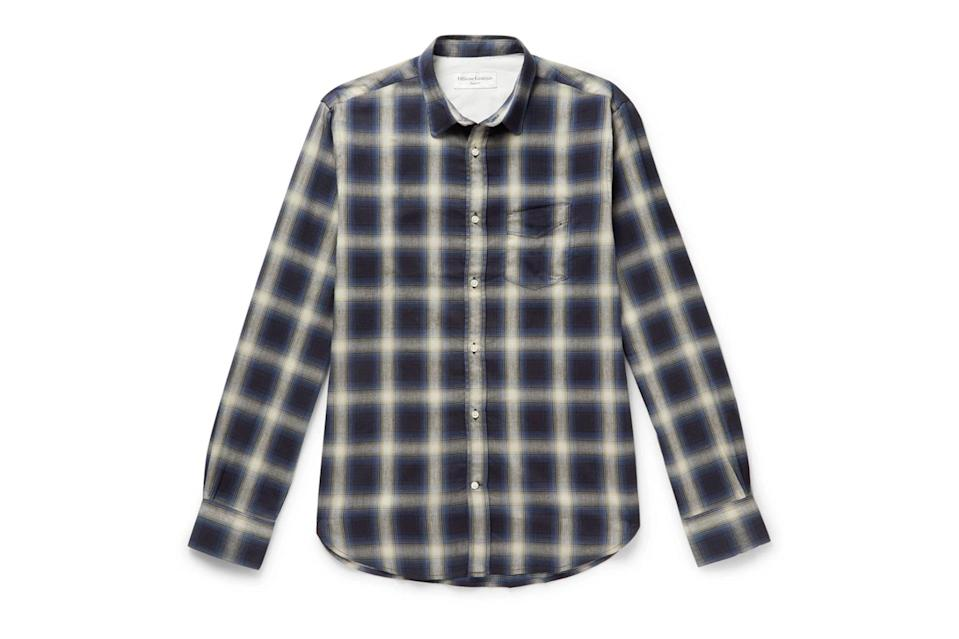 "$335, Mr Porter. <a href=""https://www.mrporter.com/en-us/mens/product/officine-generale/clothing/checked-shirts/checked-brushed-flannel-shirt/8008779904979051"" rel=""nofollow noopener"" target=""_blank"" data-ylk=""slk:Get it now!"" class=""link rapid-noclick-resp"">Get it now!</a>"
