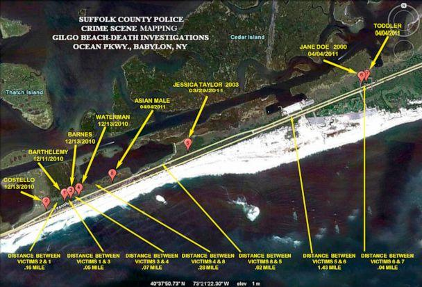 PHOTO: The locations where eight of 10 bodies were found near Gilgo Beach since December 2010 are seen in this Suffolk County Police handout image released to Reuters, Sept. 20, 2011. (Courtesy of Suffolk County Police via Reuters, FILE)