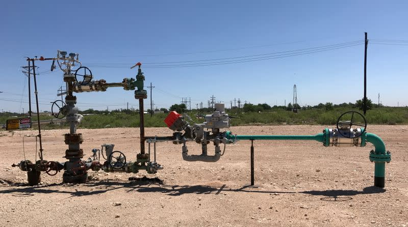 FILE PHOTO: A wellhead is seen at an Occidental Petroleum Corp carbon dioxide enhanced oil recovery project in Hobbs