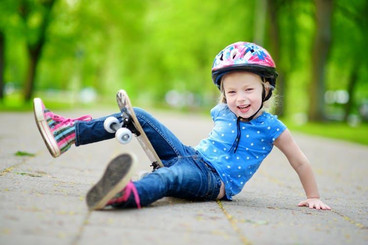"""<span class=""""caption"""">A high-calcium diet while young helps bones resist falls and bumps throughout life.</span> <span class=""""attribution""""><a class=""""link rapid-noclick-resp"""" href=""""https://www.shutterstock.com/image-photo/pretty-little-girl-learning-skateboard-outdoors-421887703?src=PpPQi8wYbepVy3lD__IN1g-1-1"""" rel=""""nofollow noopener"""" target=""""_blank"""" data-ylk=""""slk:Shutterstock"""">Shutterstock</a></span>"""
