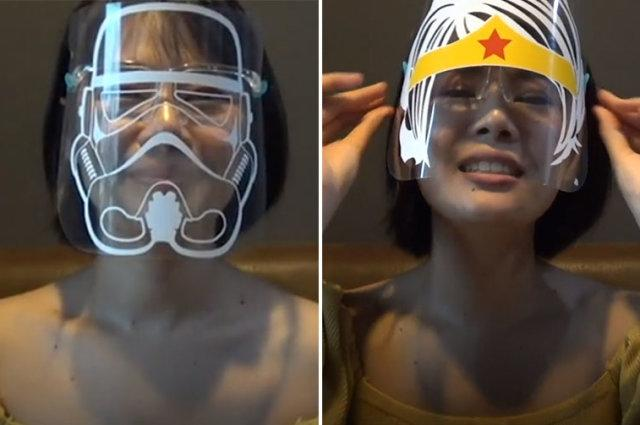 This Thai mother prints cartoon and sci-fi characters onto plastic face shields