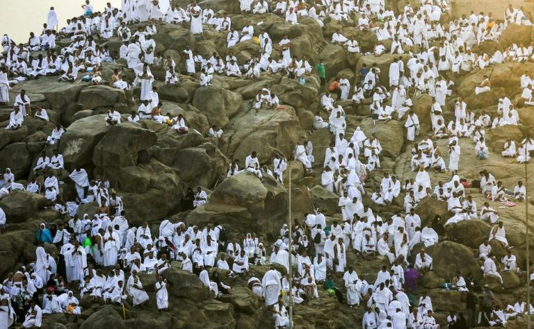 Muslim pilgrims gather on Mount Arafat southeast of the Saudi holy city of Mecca for the climax of the hajj on August 20, 2018