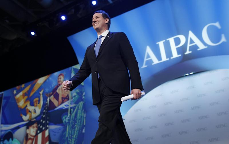 Republican presidential candidate, former Pennsylvania Sen. Rick Santorum, arrives to speak before the American Israel Public Affairs Committee (AIPAC), in Washington, Tuesday, March 6, 2012. (AP Photo/Charles Dharapak)