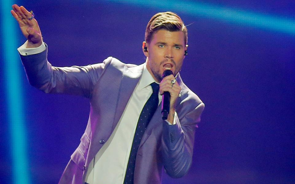 Robin Bengtsson, Sweden's entry for the 2017 Eurovision Song Contest - Copyright 2017 The Associated Press. All rights reserved.