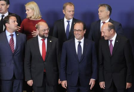 European leaders take part in a group photo at the European Union summit in Brussels