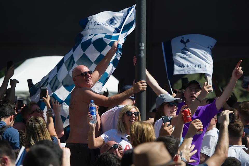 Tottenham supporters gather at a fan zone in Madrid. (Photo by Loli San Jose / AFP)