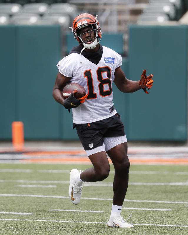 Cincinnati Bengals wide receiver A.J. Green participates during practice at the team's NFL football facility, Wednesday, June 12, 2019, in Cincinnati. (AP Photo/John Minchillo)