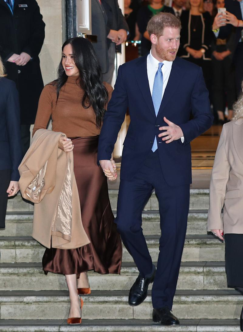 The Duke and Duchess of Sussex leaving after their visit to Canada House, central London, on Tuesday. Source: Yui Mok/PA Wire PA.