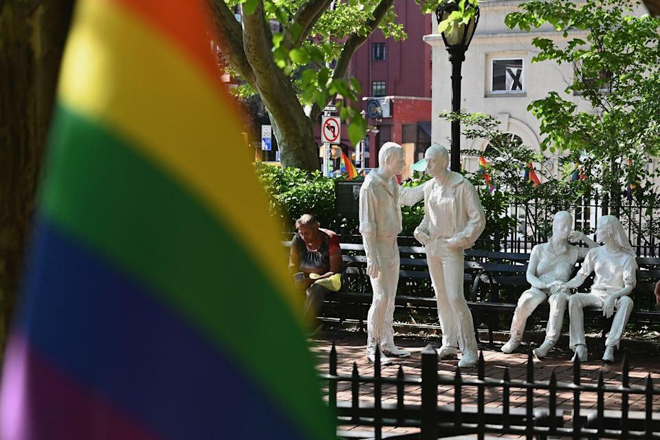 Rainbow flags and sculptures are seen at the Stonewall National Monument, the first LGBTQ national monument, dedicated to the birthplace of modern lesbian, gay, bisexual, transgender, and queer civil rights movement on June 4, 2019 in New York City.