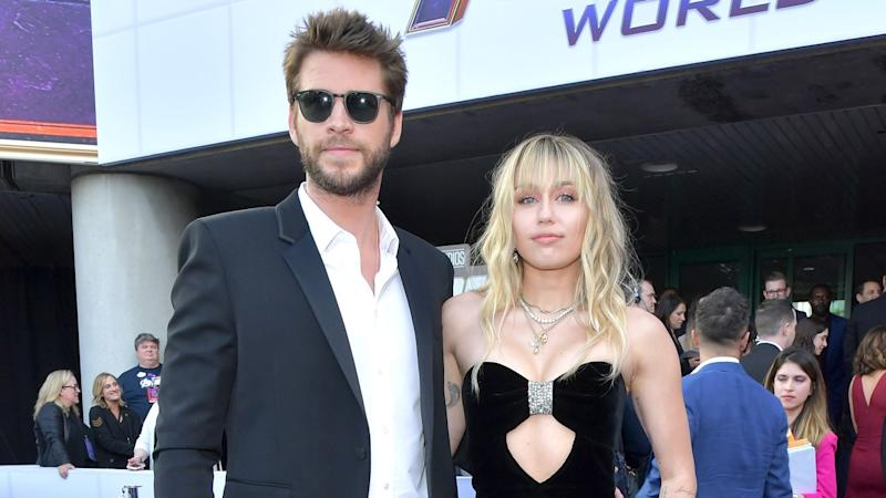c225df551e93f Miley Cyrus and Liam Hemsworth Wore Coordinating Outfits to the Avengers:  Endgame Premiere