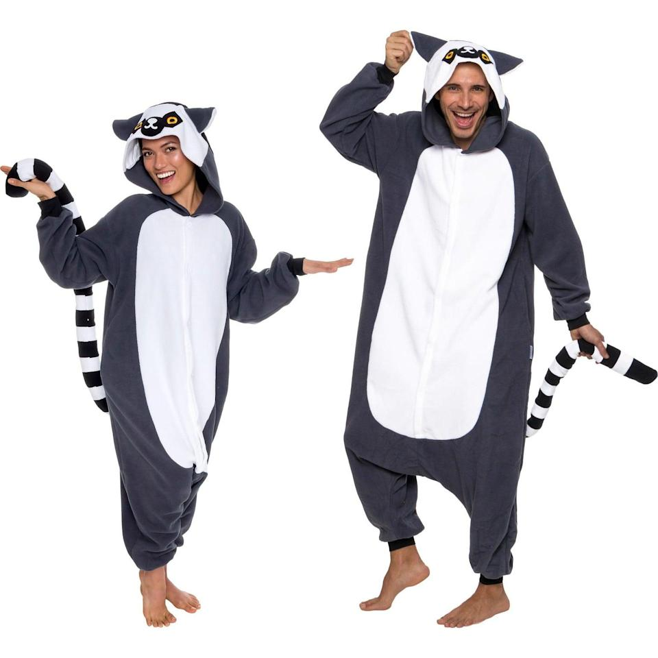 """<p>You and your friends can dress up as the lemurs from <b>Madagascar</b> with the <span>Funziez! Lemur Adult Unisex Novelty Union Suit</span> ($30). It's cozy, comfortable, and perfect for those chilly <a class=""""link rapid-noclick-resp"""" href=""""https://www.popsugar.co.uk/Halloween"""" rel=""""nofollow noopener"""" target=""""_blank"""" data-ylk=""""slk:Halloween"""">Halloween</a> nights. </p>"""