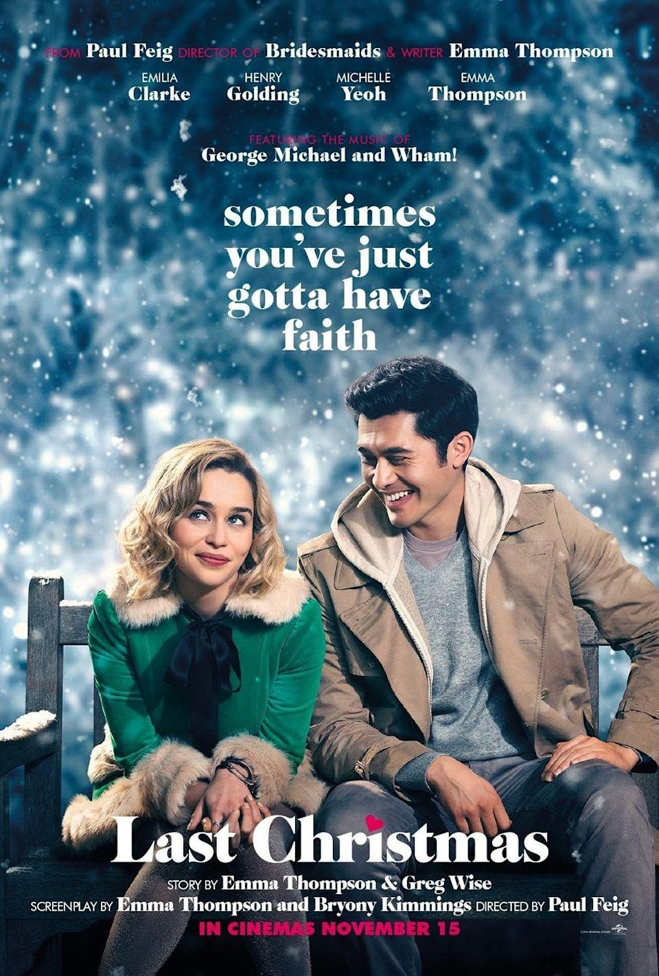 """<p>In this recent holiday rom-com, <em>Game of Thrones' </em>Emilia Clarke plays a Christmas store elf who meets the charming Tom, played by Henry Golding. Cue the romance and holiday magic!</p><p><a class=""""link rapid-noclick-resp"""" href=""""https://www.amazon.com/Last-Christmas-Emilia-Clarke/dp/B07ZL565X1?tag=syn-yahoo-20&ascsubtag=%5Bartid%7C10055.g.1315%5Bsrc%7Cyahoo-us"""" rel=""""nofollow noopener"""" target=""""_blank"""" data-ylk=""""slk:WATCH NOW"""">WATCH NOW</a><br></p>"""