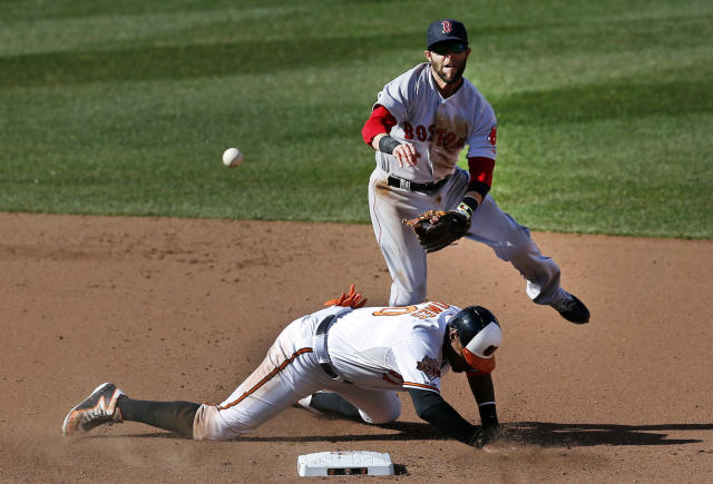 Baltimore Orioles' Adam Jones, bottom, collides with Boston Red Sox second baseman Dustin Pedroia after being forced out on a ground ball by Chris Davis in the fourth inning of an opening day baseball game, Monday, March 31, 2014, in Baltimore. Davis was safe at first. (AP Photo/Patrick Semansky)