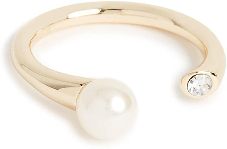<p>This <span>Shashi Mona Ring</span> ($38) is affordable and cool. It's a unique take on a pearl ring.</p>