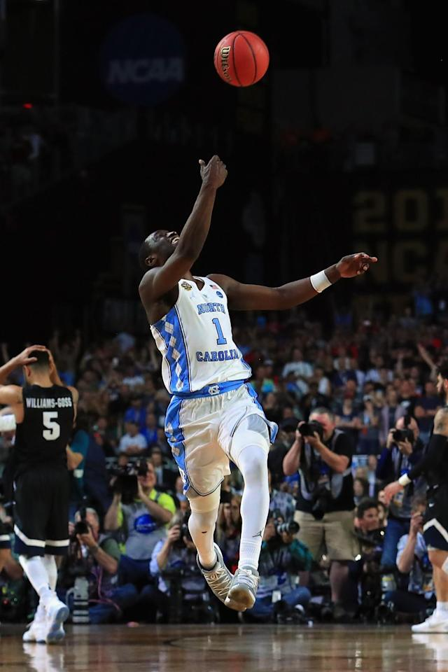 <p>Theo Pinson #1 of the North Carolina Tar Heels celebrates after defeating the Gonzaga Bulldogs during the 2017 NCAA Men's Final Four National Championship game at University of Phoenix Stadium on April 3, 2017 in Glendale, Arizona. The Tar Heels defeated the Bulldogs 71-65. (Photo by Tom Pennington/Getty Images) </p>